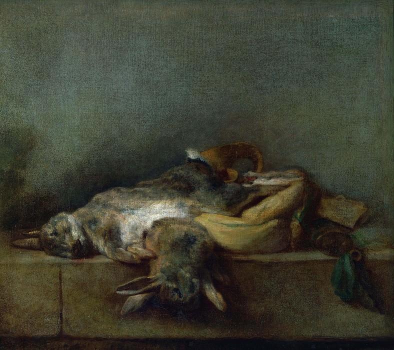 Натюрморт с двумя зайцами, ягдташем и пороховницей. Жан-Батист Симеон Шарден