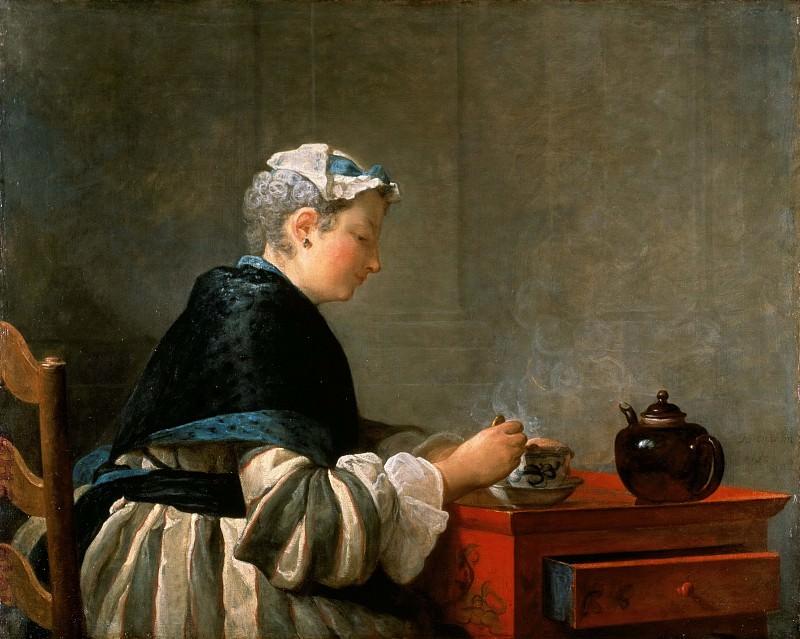 Женщина, пьющая чай. Жан-Батист Симеон Шарден