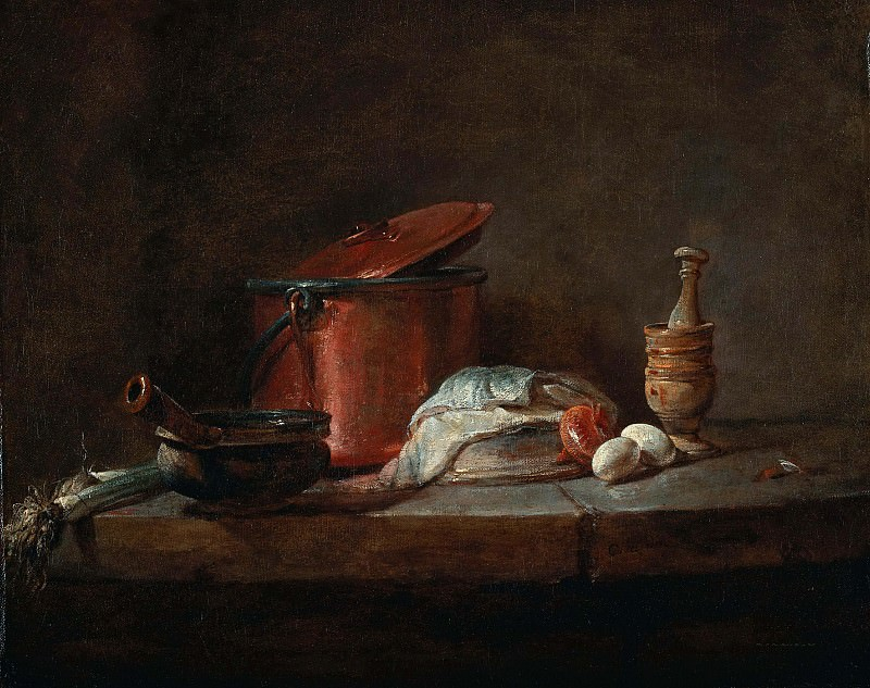 Kitchen Utensils with Leeks, Fish, and Eggs. Jean Baptiste Siméon Chardin