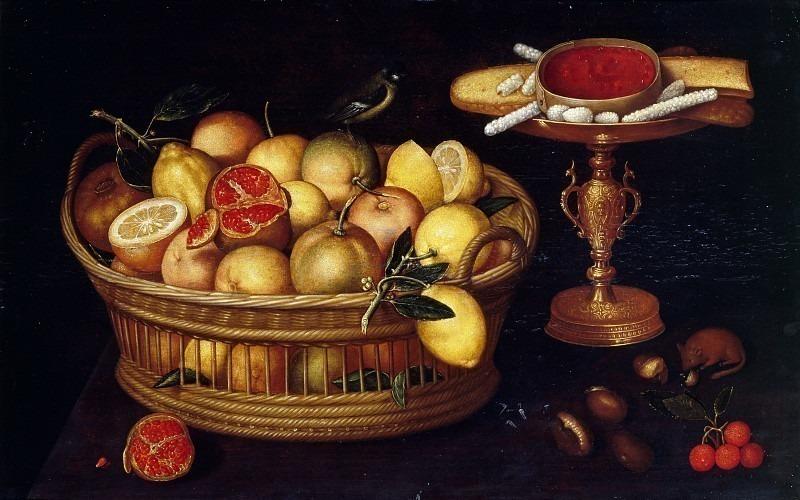 Корзина цитрусовых и ваза со сладостями. Франческо (Франц Годен) Кодино