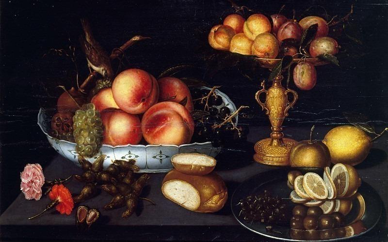 Натюрморт с вазой для фруктов и подставкой для сливы. Франческо (Франц Годен) Кодино