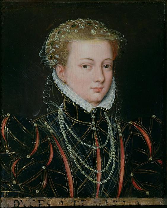 Portrait of Margaret, Duchess of Parma (1522-1586), Regent of the Netherlands. Francois Clouet