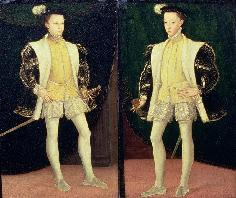 Слева Франциск II (1544-1560), справа Карл IX (1550-1574), будущий Король Франции. Франсуа Клуэ