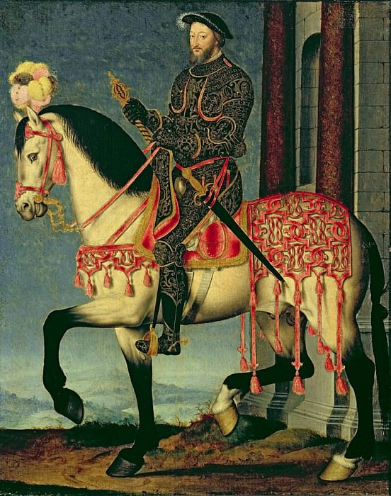 Equestrian portrait of Francis I of France. Francois Clouet