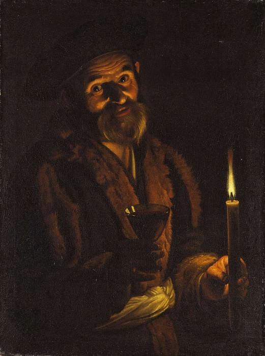 Старик держит свечу и бокал. Адам де Костер (Приписывается)