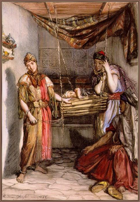 Deux Jeunes Juives De Constantine Bercant Un Enfant. Theodore Chasseriau