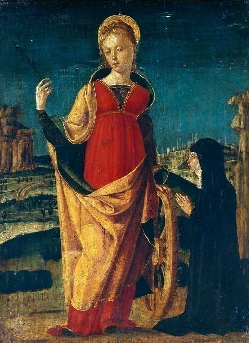 Святая Екатерина Александрийскя, обожаемая монахиней. Антонио Чиконьяра