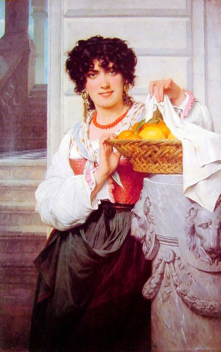 Pisan Girl with Basket of Oranges and Lemons. Pierre-Auguste Cot