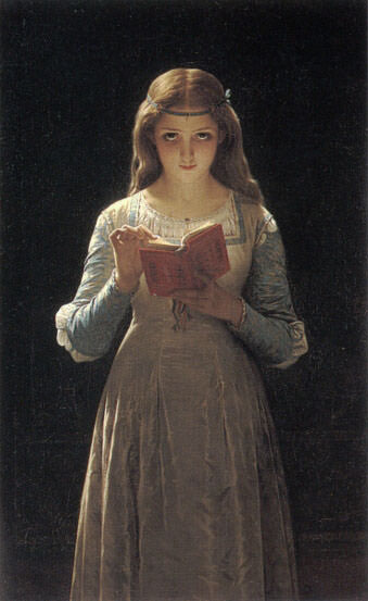 Young Maiden Reading a Book. Pierre-Auguste Cot