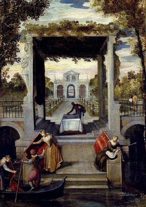 Сад венецианской виллы с фигурами. Бенедетто Кальяри