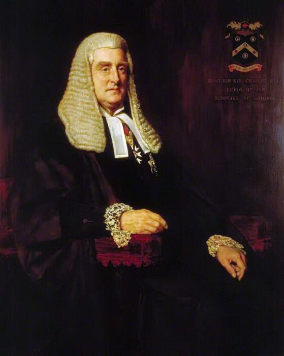 Sir Charles Hall (1843–1900), Recorder of London. John Collier