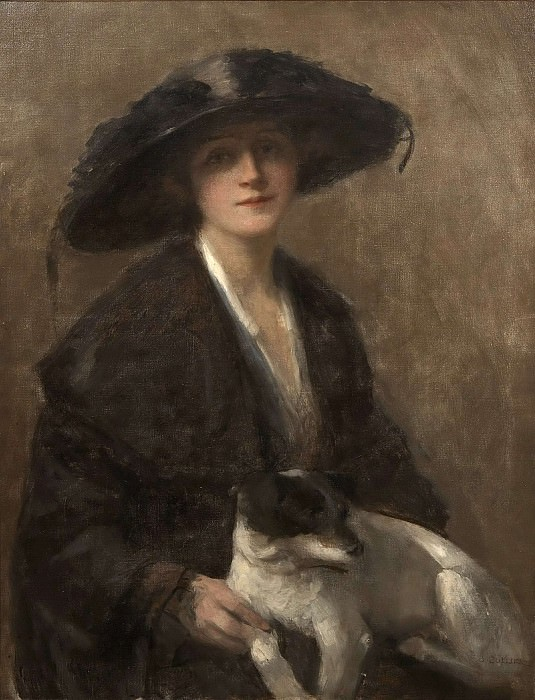 Portrait of a Lady with a Dog. John Collier