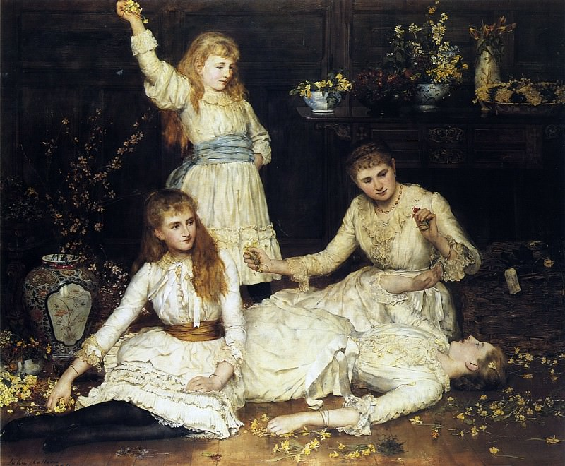 May, Agatha, Veronica and Audrey, the daughters of colonel Makins. John Collier