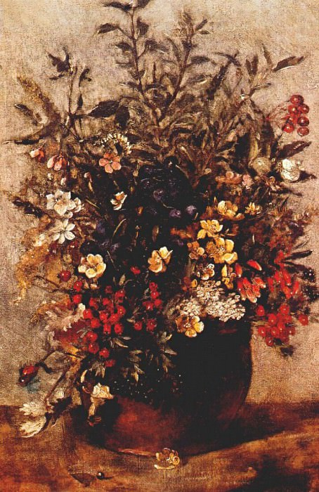 autumn berries and flowers in brown pot c1814. John Constable