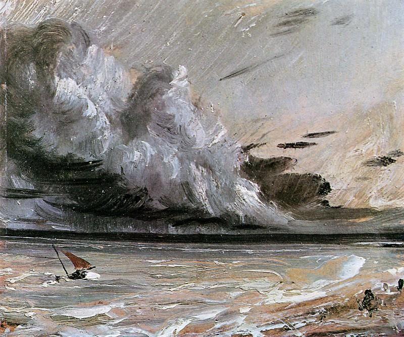 Coast scene with breaking cloud. John Constable
