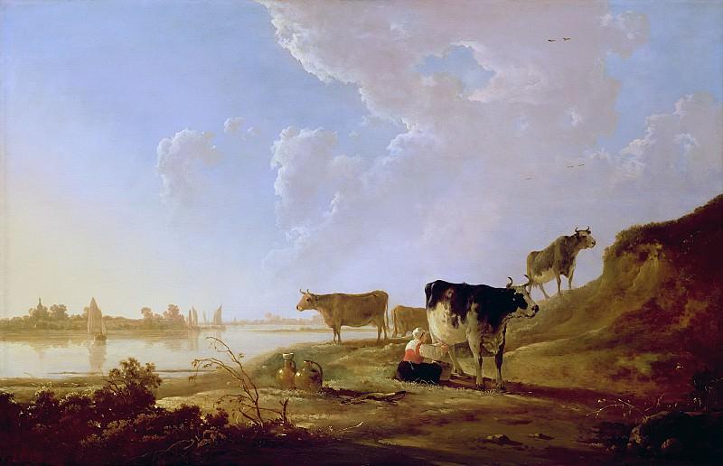 Коровы на берегу реки. Альберт Кёйп