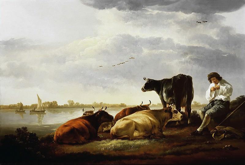 Пастух с коровами на берегу реки. Aelbert Cuyp