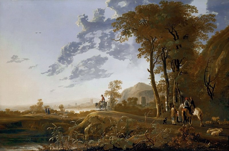 Evening landscape With Horsemen And Shepherds. Aelbert Cuyp