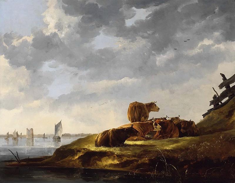 Пейзаж с семью коровами у реки и руинами башни Мерведе. Альберт Кёйп
