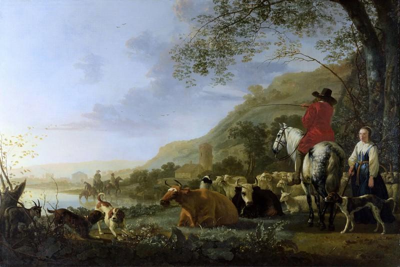 Холмистый речной пейзаж с всадником, говорящим с пастушкой. Aelbert Cuyp