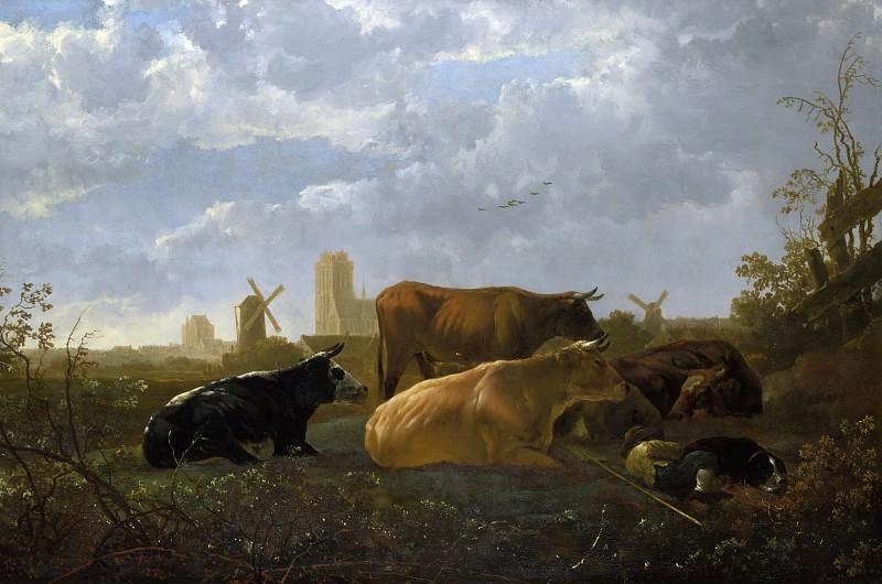 Пастух с коровами на фоне Дордрехта. Aelbert Cuyp