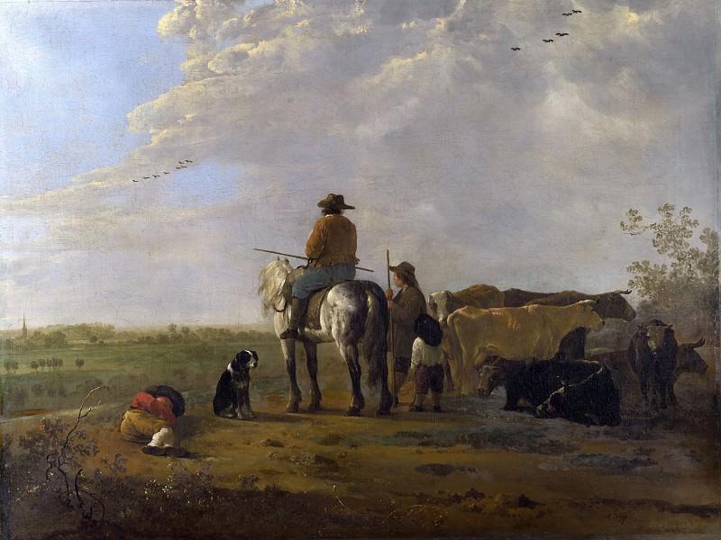 Пастухи с коровами на лугу. Альберт Кёйп