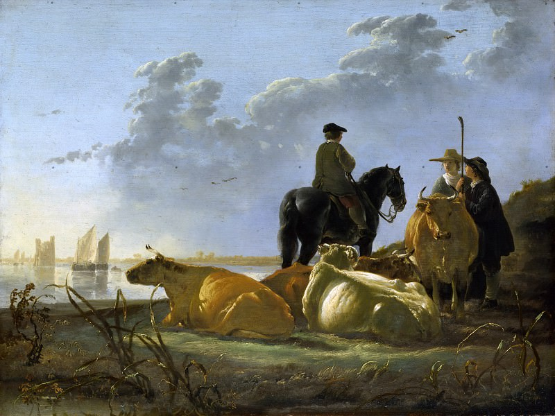 Peasants With Four Cows By The River Merwede. Aelbert Cuyp