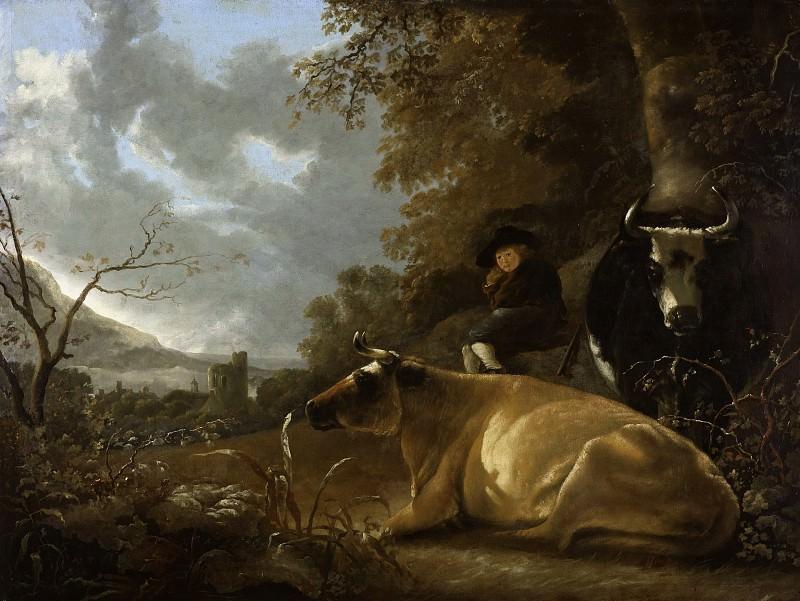 Пейзаж с пастушком и коровами. Альберт Кёйп