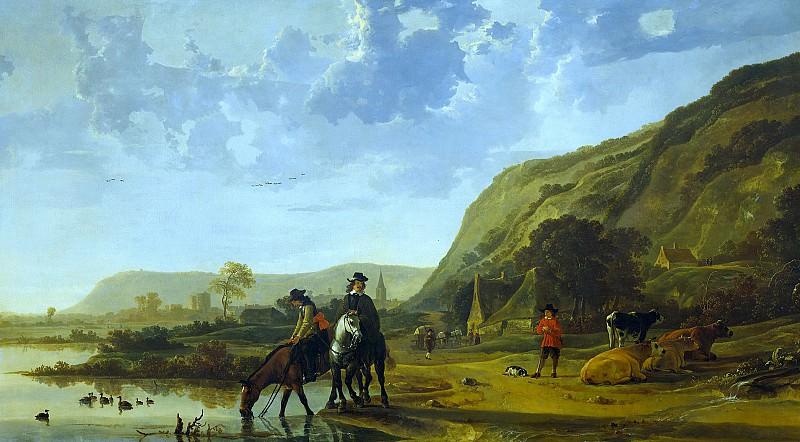 Алберт Кейп - Речной пейзаж с всадниками. Aelbert Cuyp (Riverlandscape with horsemen)