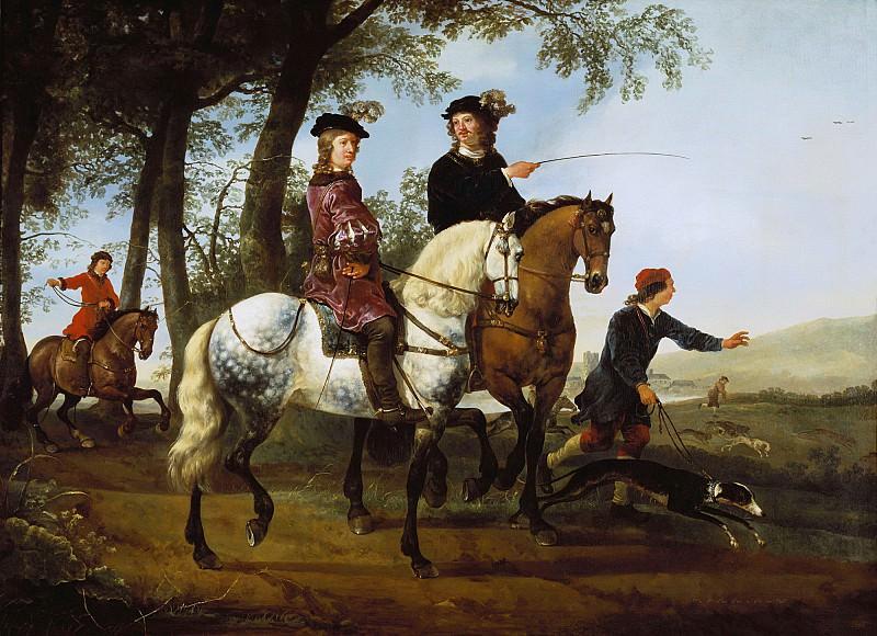Пейзаж с всадниками на охоте. Aelbert Cuyp