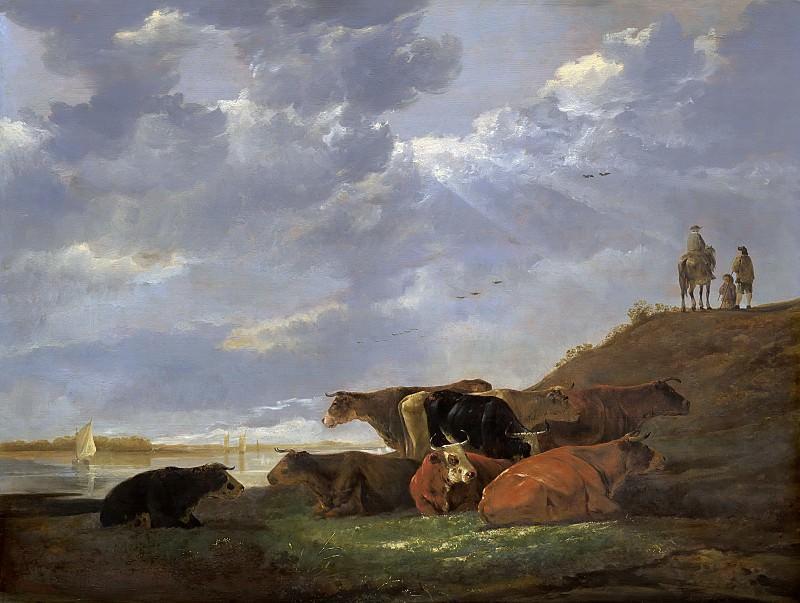 Пейзаж с коровами у реки. Альберт Кёйп