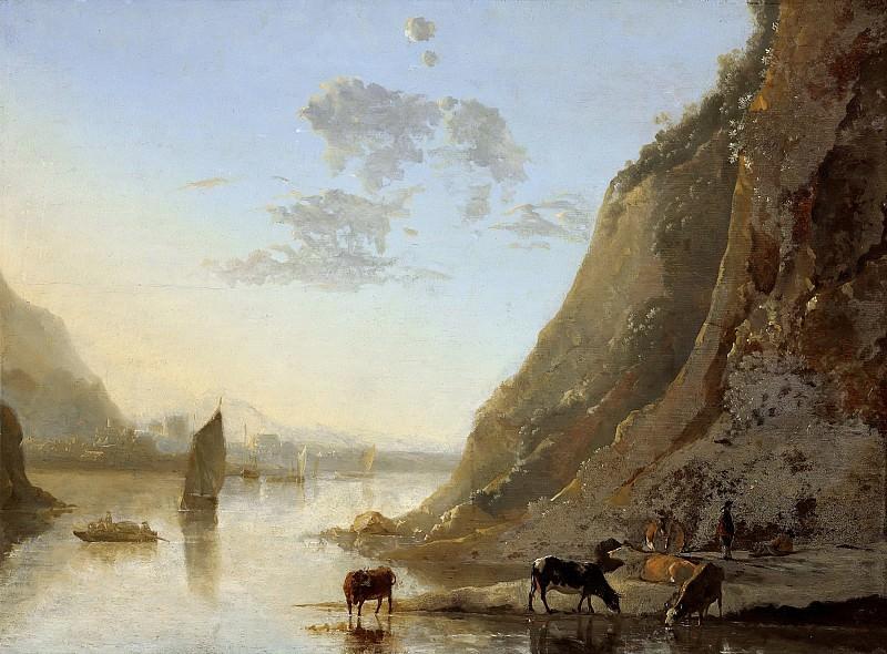 River Bank With Cows. Aelbert Cuyp