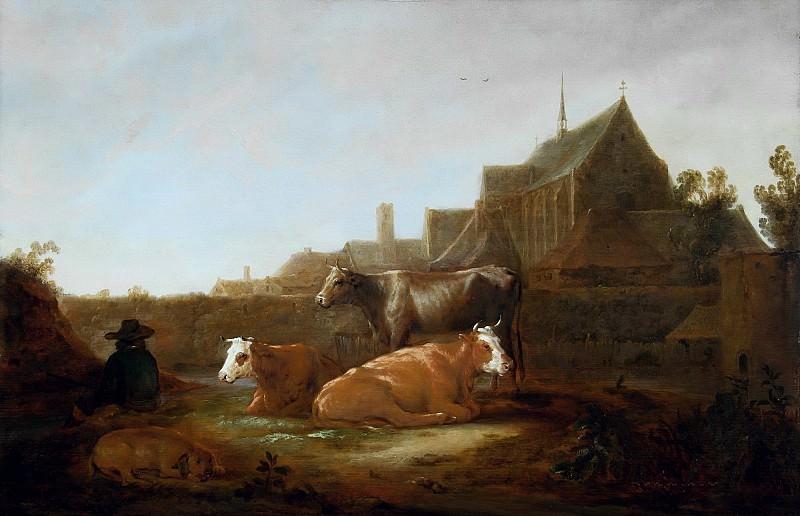 Пастух с коровами на фоне Утрехта. Aelbert Cuyp