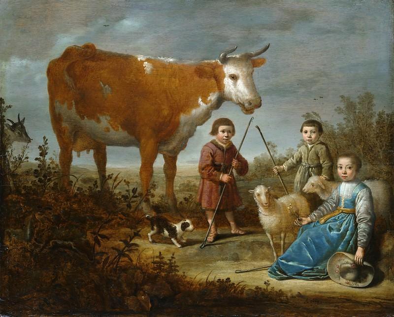 Дети и корова = 1635-39, 44х54, Метрополитен Нью-Йорк. Альберт Кёйп