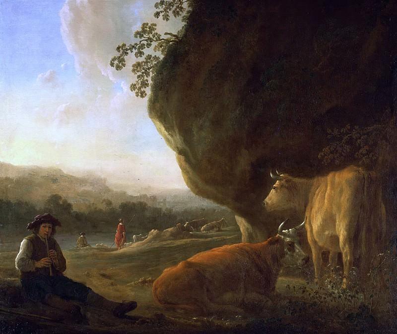 Пейзаж с пастухом, играющим на флейте. Альберт Кёйп