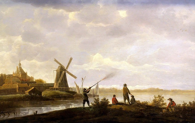 View of Dordrecht with a hunter and fishermen. Aelbert Cuyp
