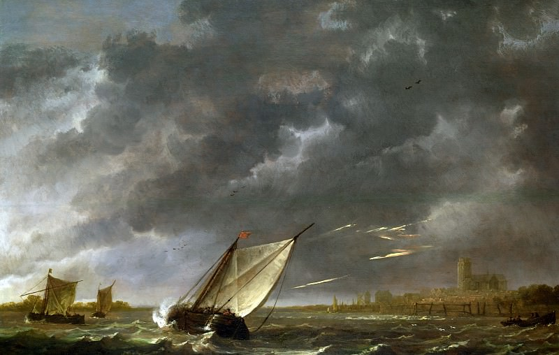 the Maas at Dordrecht in a storm. Aelbert Cuyp