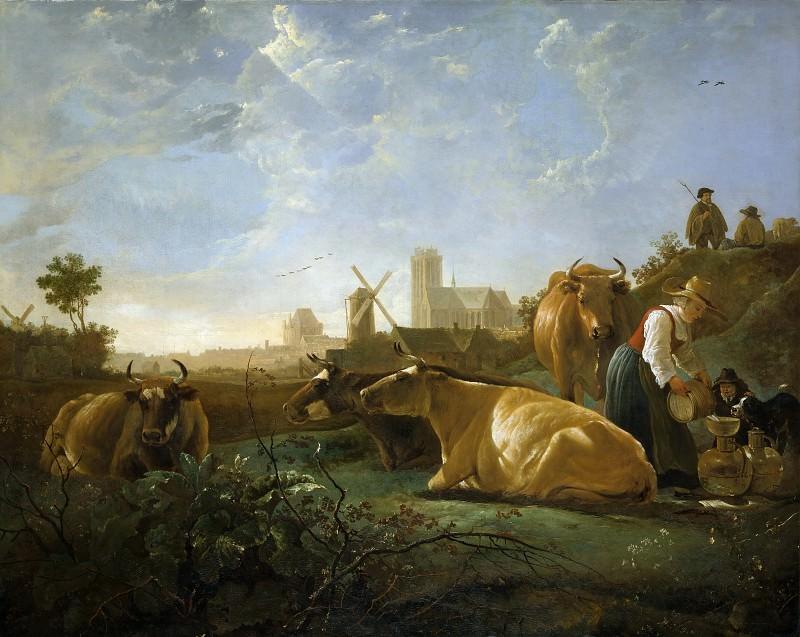 Вид на Дордрехт с дояркой, пастухами и коровами. Альберт Кёйп