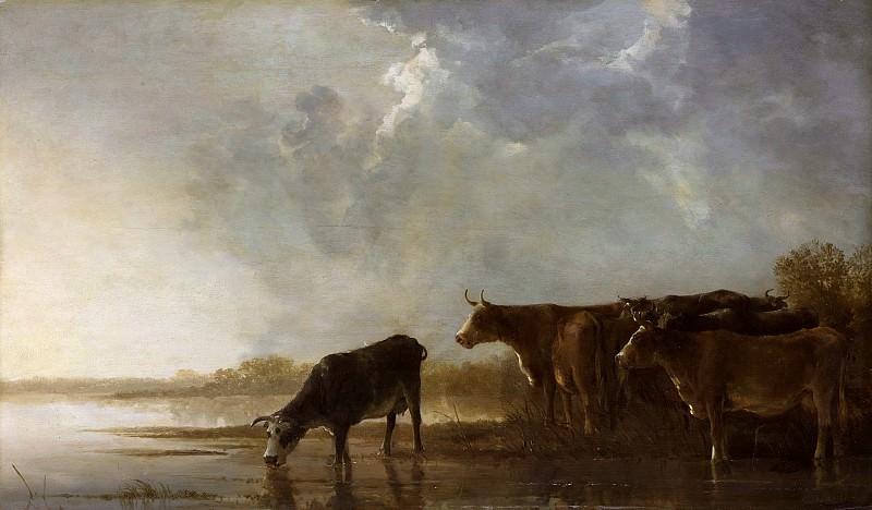 Река и коровы на фоне пейзажа. Альберт Кёйп