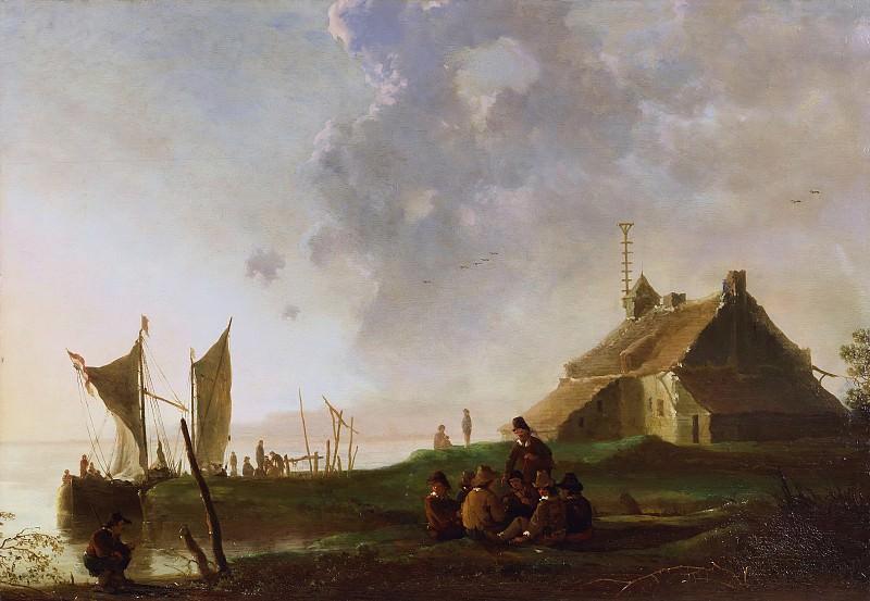 Пейзаж с казармой на берегу реки. Альберт Кёйп