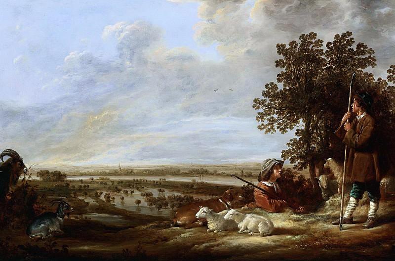 Речной пейзаж с пастухами. Aelbert Cuyp