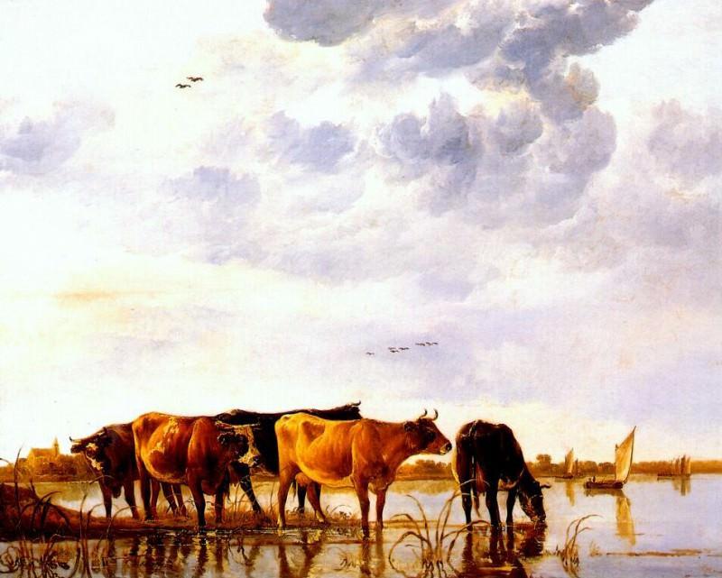Домашний скот у реки, ок.1650. Альберт Кёйп