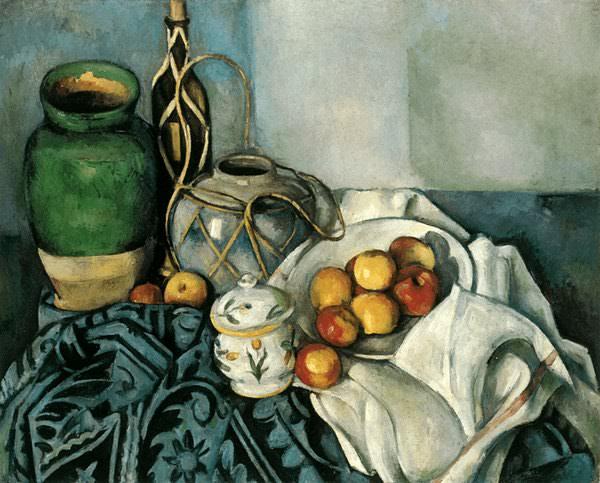 Stilleben med fruktallrik pA en tapet,1893-94, Priva. Paul Cezanne