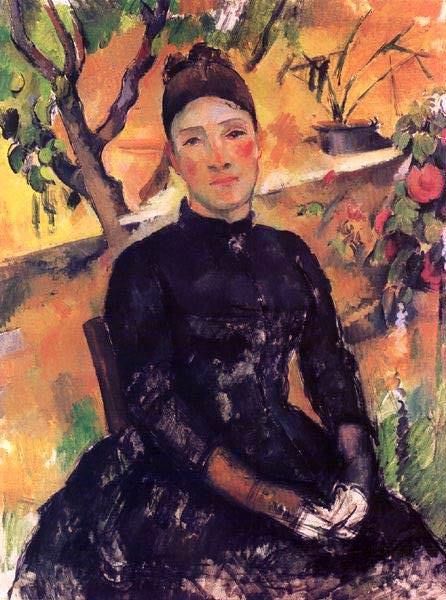 MADAME CeZANNE I VaXTHUSET,1891-92, METROPOLITAN MU. Paul Cezanne