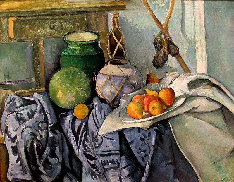 still-life-with-a-ginger-jar-and-eggplants. Paul Cezanne