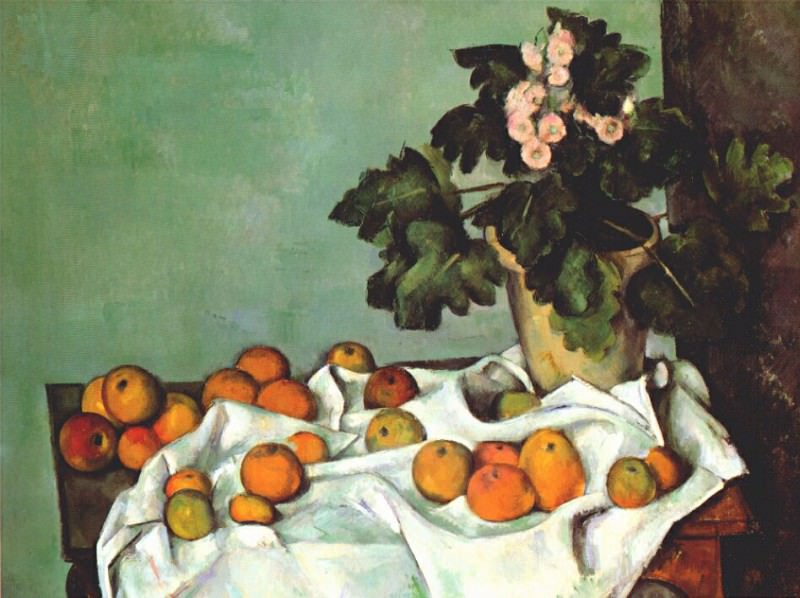 still life- apples and pot of primroses early-1890s. Paul Cezanne