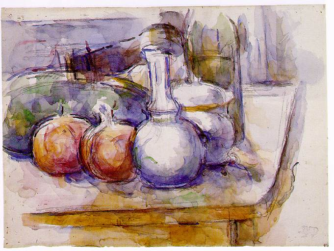 Still Life with Carafe, Sugar Bowl, Bottle, Pomegranates, and Watermelon. Paul Cezanne