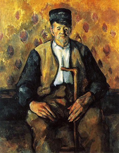 CEZANNE SITTANDE BONDE MED KAPP,c.1900-04, PRIVAT. Paul Cezanne
