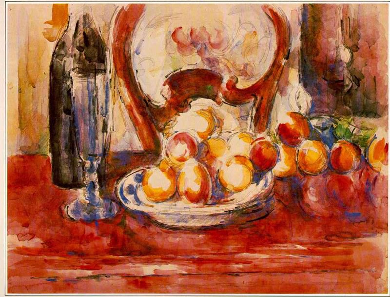 STILL LIFE- APPLES, BOTTLE AND CHAIRBACK,1902-06, (W. Paul Cezanne
