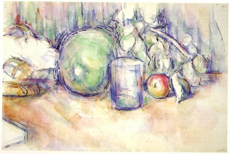 Still Life with Green Melon. Paul Cezanne